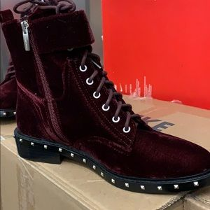 Brand new burgundy velvet combat style boot